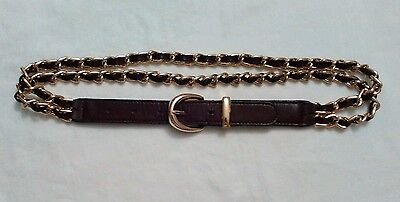 Vintage 1980s burgundy leather and gilt metal, chain belt Marks and Spencer 'S'