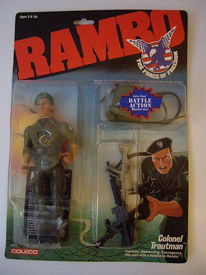 Vintage 1980s Coleco Rambo Force Of Freedom Colonel Trautman Figure New On Card