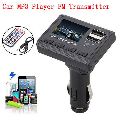 Car Music MP3 Player FM Transmitter Modulator Dual USB Charging SD MMC Remote ON
