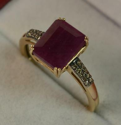 3.80ct Ruby and Diamond 9ct Gold Art Deco Design Ring f0035
