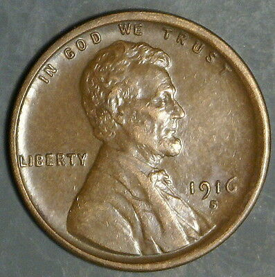1916-S  Lincoln Wheat Cent Grade Xf  *as Pictured*   Inv 323