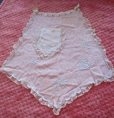3 Vintage Baby Dresses Cape Hood Apron 1800's HomeMade Sewn  Embroidery Girls