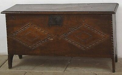 17c OAK 6 PLANK COFFER WITH CARVED FRONT PANEL (No Reserve)