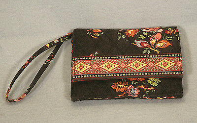 Vera Bradley Chocolat Wristlet Wallet Purse Side Strap Brown Yellow Pink Orange