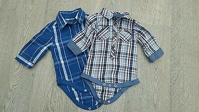 Two baby boys shirt vests, 0-3m