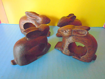 4 Vintage, Hand Carved, Wooden, Rabbit, Napkin Rings, Unique Look, Picnic Fun