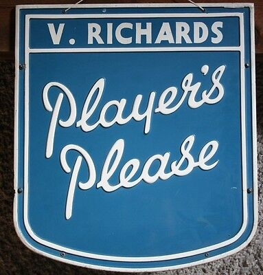 Players Please Cigarette Embossed Double Sided Metal Shop Sign Original 1950s?