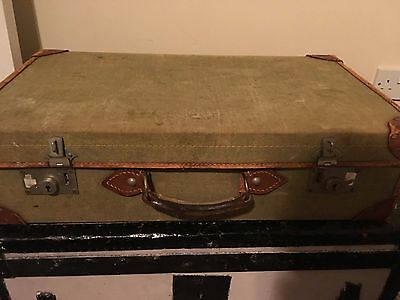 Vintage green fabric Suitcase