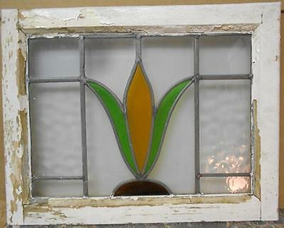 "OLD ENGLISH LEADED STAINED GLASS WINDOW Nice Floral 21.5"" x 17"""