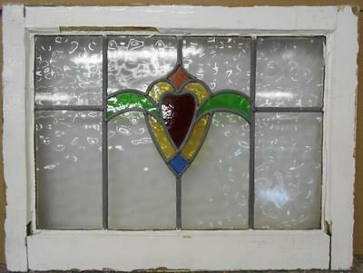 "MID SIZED OLD ENGLISH LEADED STAINED GLASS WINDOW Heart Swag 23.25"" x 17.5"""