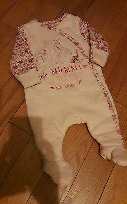 baby girl 0-3months mummy & daddy babygrow from mothercare