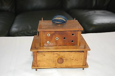 ANTIQUE SHAKER VICTORIAN SEWING BOX- THREAD SPOOL HOLDER Caddy WITH DRAWER