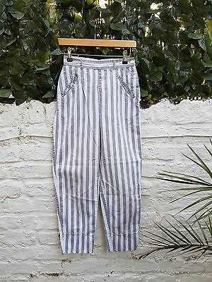 Vintage Retro White and Grey Stripe Esprit High Waisted Trousers Size 6