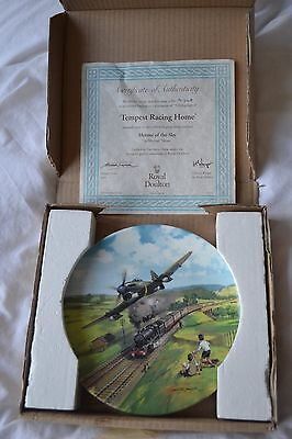 "Royal Doulton ""Tempest Racing Home"" Ltd Ed. collectors plate. WW2. RAF"