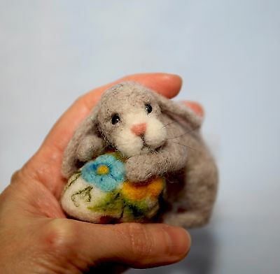 OOAK Needle Felted Miniature hare with egg Easter handmade gift