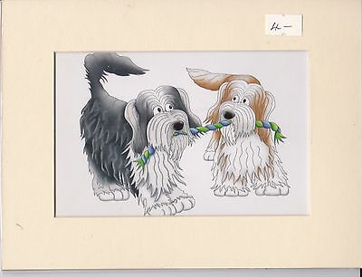 "8"" X 6"" MOUNTED  LITHOGRAPH COMEDY PAINTING PRINT of TWO BEARDED COLLIE PUPS"
