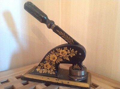 Antique Victorian Cast Iron Paper Embossing Stamp Press-gorgeous detailing