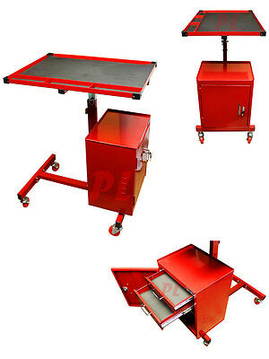 Adjustable Steel Metal  Cart w Wheels 2 Drawer Rolling Tool Chest Table-RED