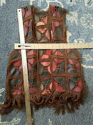 Vintage 70'S Womens Leather Patchwork Crochet Fringe BOHO Vest Hippie Size S-L