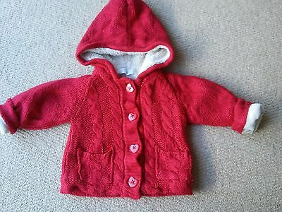 Baby Red Warm Knit Jacket/hoodie Age 6-9 Mths
