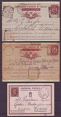 z2612/ Italy 3 stk Stationery Card Cover 1879-1893