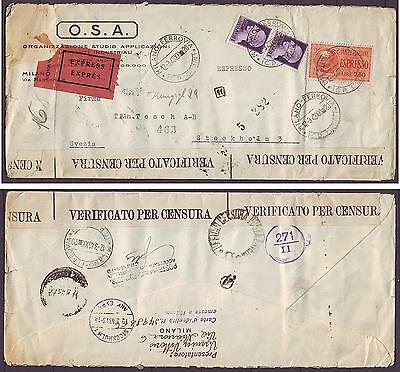 z2630/ Italy Expres Censor Cover to Sweden 1943
