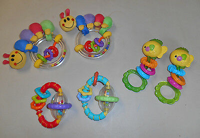 Lot of BABY TOYS Rattles Teethers - 6 Items - PreOwned - Perfect for TWINS