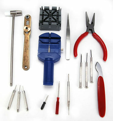 16pcs Watch Repair Tool Kit Band Strap Link Remover Back Opener SET CE NEW