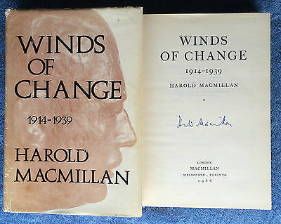 Hand Signed Book HAROLD MACMILLIAN - WINDS OF CHANGE - Prime Minister 1914-1939