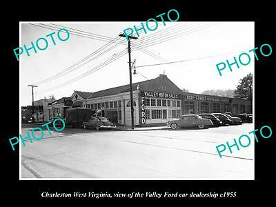 OLD HISTORIC PHOTO OF CHARLESTON WEST VIRGINIA, THE VALLEY FORD DEALERSHIP c1955