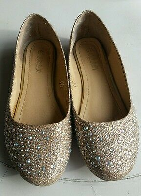 Girls sparkly gold and silver flats size 3