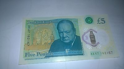 Bank Of England £5 Five Pound Polymer Note - Unique Serial Number Ak47-162167