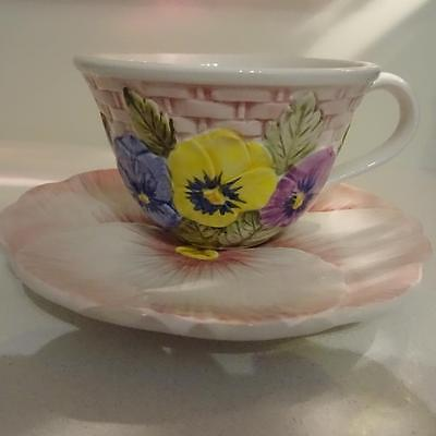 Italian Hand Made & Painted Large Cup & Side Plate