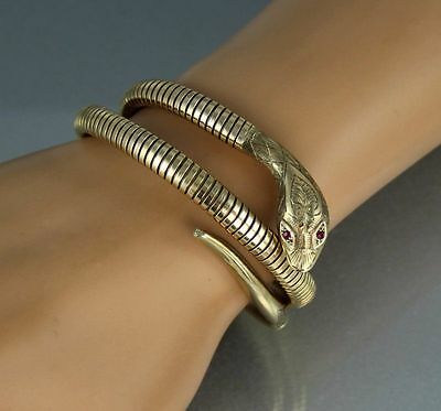 9Ct Gold Double Snake /Serpent Bracelet /Bangle Ruby Eyes by Smith & Pepper 1976