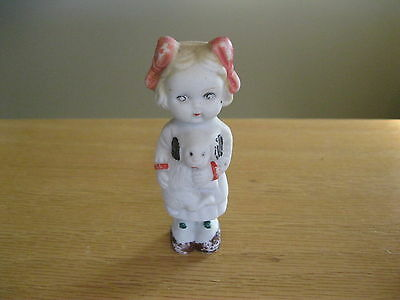 """Japan bisque doll girl with her dog doll summer dress cool little piece 4"""" tall"""