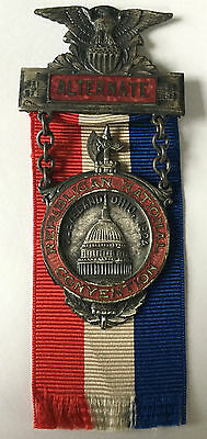 1924 REPUBLICAN NATIONAL CONVENTION DELEGATE RIBBON MEDAL PRESIDENT COOLIDGE Rar