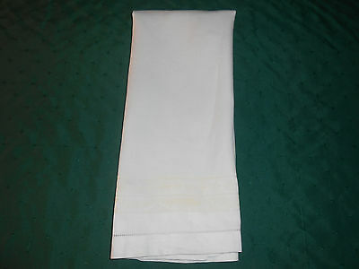 Large Snow White Damask Towel With A Light Yellow Border, Vintage 1920