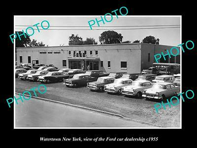OLD LARGE HISTORIC PHOTO OF WATERTOWN NEW YORK, THE FORD CAR DEALERSHIP c1955