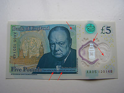 RARE - AA05 £5 Five Pound Note Print Error Misprint Alignment New Polymer