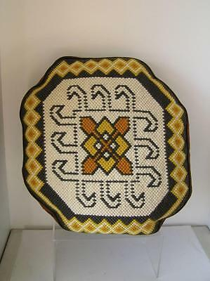 Original Needlepoint Pillow Geometric Arts & Crafts Design Style Oval Boxed