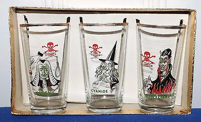 VTG Antique? Whats your poison drinking glasses Witch Devil Cyanide Arsenic