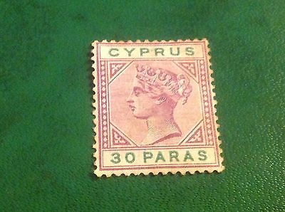 Cyprus 1882 SG17 30pa Pale Mauve Mint Hinged EB printed in ink on reverse CV £80