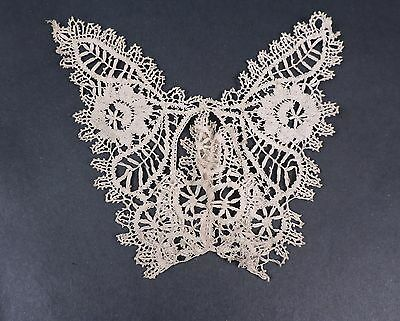 Antique Hand Made Ecru Cluny Lace Butterfly Appliqué