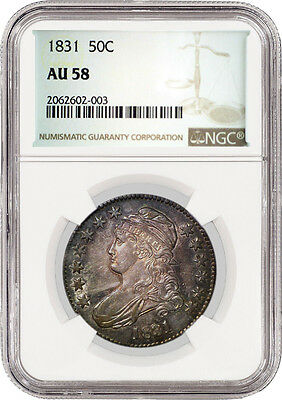 1831 50C Capped Bust Lettered Edge Silver Half Dollar NGC AU58 Toned