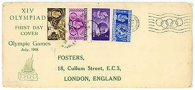 GB 1948 Olympic Games illustrated FDC with SLOGAN Cat £60