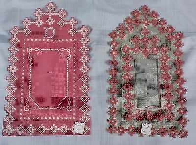 Antique Victorian 19Th C Embroidered Picture Frame Pair
