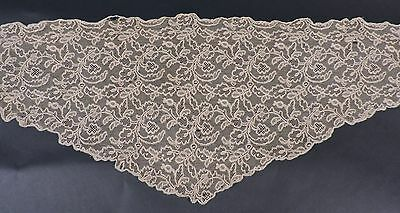Antique Hand Made Ecru Lace Cape / Stole As Found