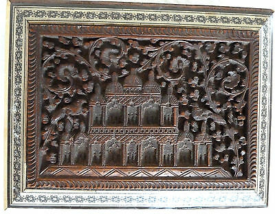 1890's Antique Anglo Indian Intricate Carved Wood Sadeli Inlaid Micro Mosaic Box