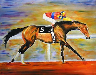 Hand painted RACE HORSE oil painting on canvas NO FRAME  36