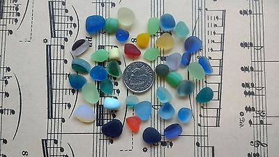 40 Pieces JQ English Sea Glass Small Nuggets Multis Rare Teal Red Blue Green 3H